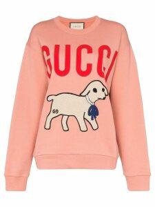 Gucci lamb motif logo sweatshirt - Pink