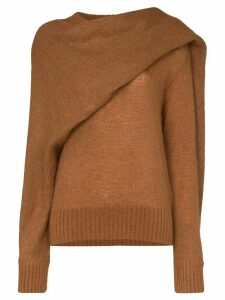 Rejina Pyo knitted wrap-style scarf jumper - Brown