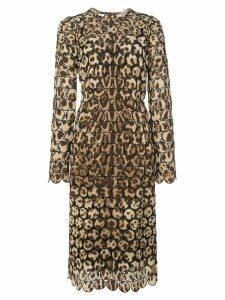 Dolce & Gabbana embroidered leopard print dress - Brown