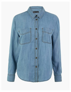 M&S Collection Tencel  Denim Patch Pocket Shirt