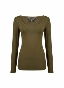 Womens Khaki Long Sleeve Scoop Top- Khaki, Khaki