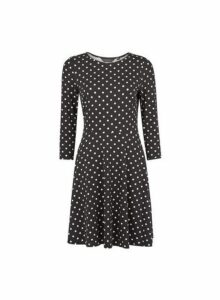 Womens Black And White Spot 3/4 Sleeve Fit And Flare Dress- Black, Black