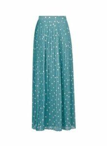 Womens **Vila Teal Spot Pleated Maxi Skirt, Teal