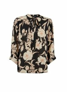 Womens Black Floral Tie Neck Batwing Top- Black, Black