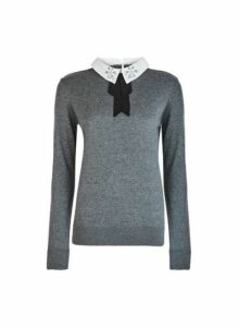 Womens Grey Embellished Collar 2-In-1 Jumper- Grey, Grey