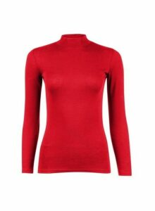 Womens Petite Red Funnel Neck Cotton Top, Red