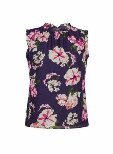 Womens **Billie & Blossom Petite Navy Floral Print Shell Top- Blue, Blue