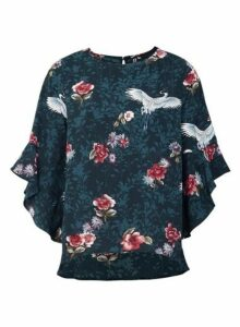 Womens *Izabel London Dark Green Floral Print Blouse, Dark Green