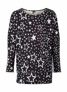 Womens *Izabel London Black Star Print Jumper- Black, Black