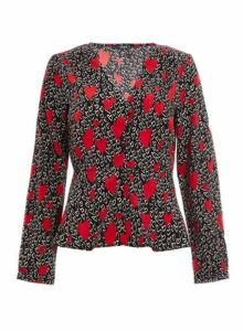 Womens *Quiz Black And Red Heart Print Blouse, Black