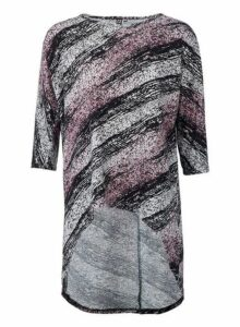 Womens *Izabel London Multi Coloured Abstract Dip Hem Top- Multi Colour, Multi Colour