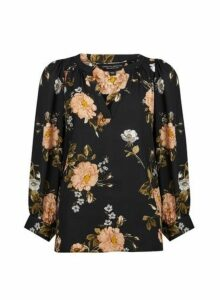 Womens Black Floral Print Balloon Sleeve Top, Black