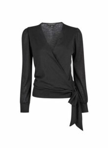Womens Black Mesh Long Sleeve Wrap Over Top- Black, Black