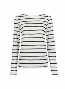 Womens Ivory Jaquard Lace Stripe Top, Ivory