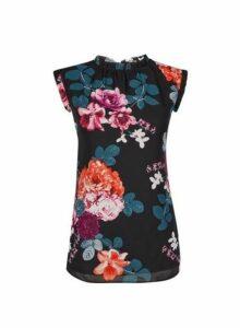 Womens ** Billie & Blossom Tall Floral Print Frill Shell Top- Black, Black