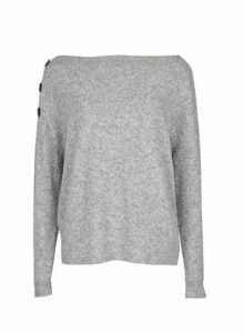 Womens Grey Button Shoulder Jumper- Grey, Grey