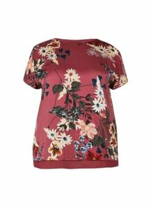 Womens **Billie & Blossom Curve Pink Floral Print Split Back Top, Pink
