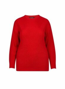 Womens **Dp Curve Red Stitch Jumper- Red, Red