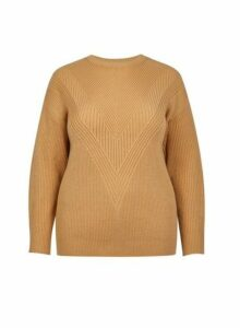 Womens **Dp Curve Camel Stitch Jumper- Brown, Brown