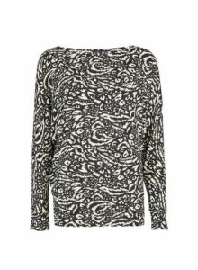 Womens Black Monochrome Print Batwing Jumper, Black
