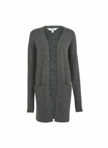Womens **Tall Charcoal Edge To Edge Cardigan- Grey, Grey