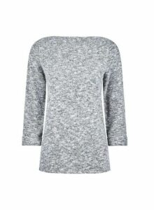 Womens Grey Turnback Boatneck Jumper, Grey