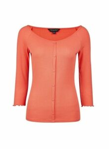 Womens Coral Button Through Rib Top- Coral, Coral