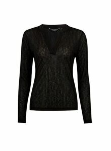 Womens Black Nehru Collar Top- Black, Black