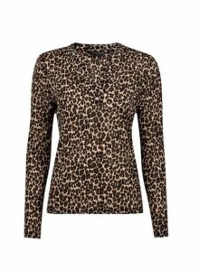 Womens Multi Coloured Leopard Print Nehru Collar Top- White, White