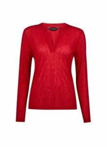 Womens Berry Nehru Collar Top- Red, Red