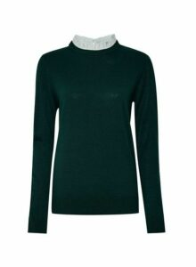 Womens Green Pierust Collar 2-In-1 Jumper, Green