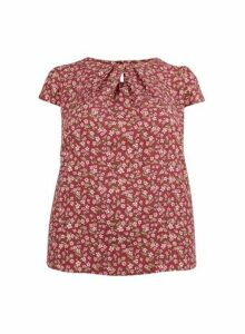 Womens **Billie & Blossom Curve Mulberry Ditsy Print Shell Top- Red, Red