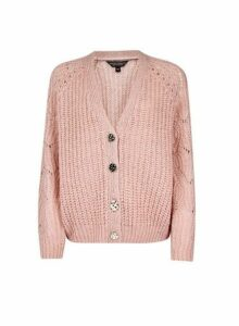 Womens Blush Boxy Stitch Cardigan- Pink, Pink