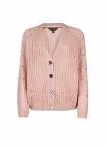 Womens Blush Boxy Stitch Cardigan- Pink, Pink