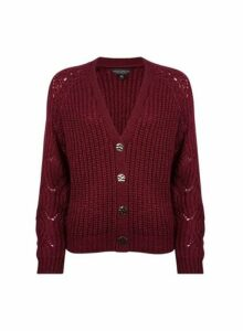 Womens Oxblood Boxy Stitch Cardigan- Red, Red