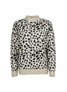 Womens Cheetah Print Jumper- Cream, Cream