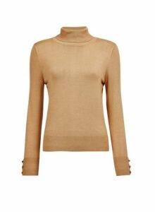 Womens Camel Button Cuff Roll Neck Jumper- Beige, Beige