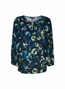 Womens Billie & Blossom Cobalt Leopard Print Top - Blue, Blue