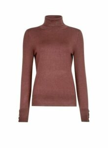 Womens Chocolate Button Cuff Roll Neck Jumper- Brown, Brown