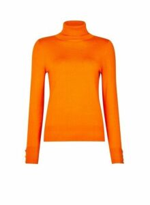 Womens Orange Button Cuff Roll Neck Jumper, Orange