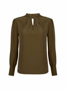 Womens Khaki Honey Long Sleeve Top- Green, Green