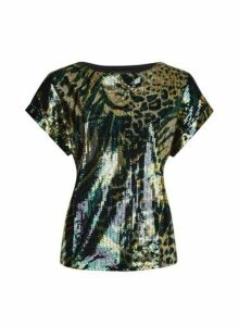 Womens Green Camouflage Printed Sequin Tee, Green