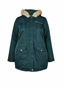 Womens **Dp Curve Green Luxe Faux Fur Parka Coat- Green, Green