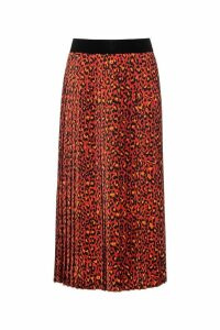 Womens HUGO Red Replissa Cheetah Print Skirt -  Red