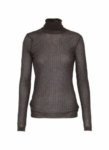 Sheer rib knit turtleneck sweater
