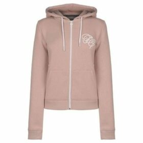 Fabric  Embroidered Zip Hoodie  women's Sweatshirt in Pink