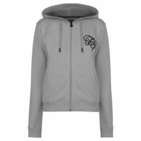 Fabric  Embroidered Zip Hoodie  women's Sweatshirt in Grey