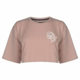 Fabric  Embroidered Crop Top  women's Blouse in Pink