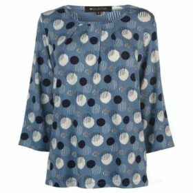 M Collection  Printed Top Ladies  women's Blouse in Blue