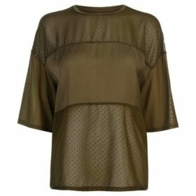 Firetrap  Blackseal Dot Mesh Top  women's Blouse in Green